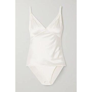 RtA - Livia Silk-satin And Stretch-tulle Bodysuit - White