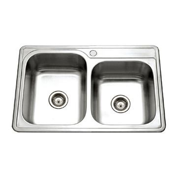 HOUZER Glowtone 33-in x 22-in Lustrous Satin Double Offset Bowl Drop-In 1-Hole Residential Kitchen Sink Stainless Steel