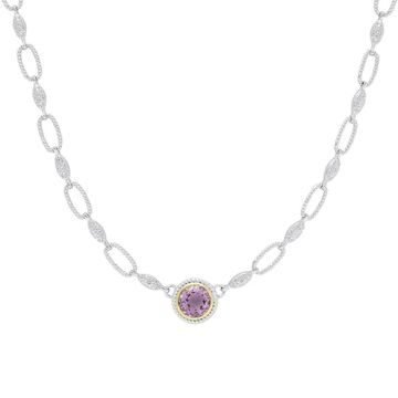 Dolce Giavonna Silver Overlay Amethyst Circle Necklace