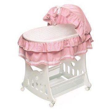 Badger Basket Portable Short Skirt Bassinet in Pink