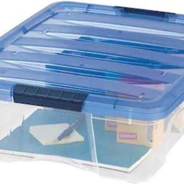 IRIS 26 Quart Stack & Pull Box, Clear/Navy, 6/Carton (100364-CT)   Quill