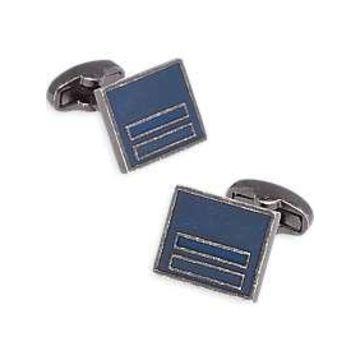 Egara Antique Silver & Blue Geometric Cufflinks