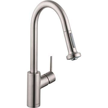 Hansgrohe HG Kitchen Steel Optik 1-Handle Deck-Mount Pull-Down Handle Kitchen Faucet   14877801