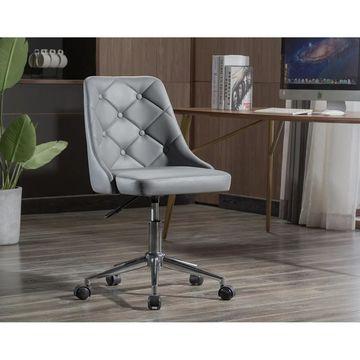 Porthos Home Aaren Swivel Office Chair, PU Leather, Chrome Base