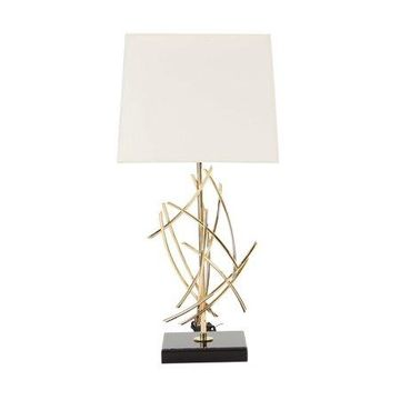 Decmode Modern Iron Flared Abstract Table Lamp, White
