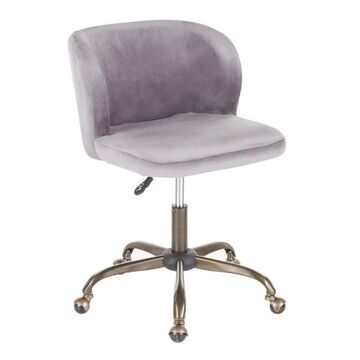 LumiSource Fran Contemporary Task Chair in Silver Velvet by LumiSource