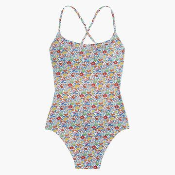 Lace-up back one-piece swimsuit in Liberty& favorite flowers