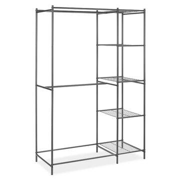 Whitmor Metal Double Rod & 5-Shelf Closet Organizer, Grey