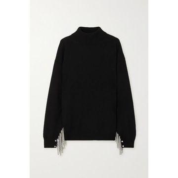 Christopher Kane - Chain-embellished Wool, Silk And Cashmere-blend Turtleneck Sweater - Black