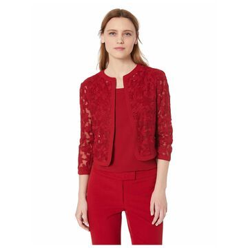 ANNE KLEIN Womens Red Floral 3/4 Sleeve Open Cardigan Top Size: 12