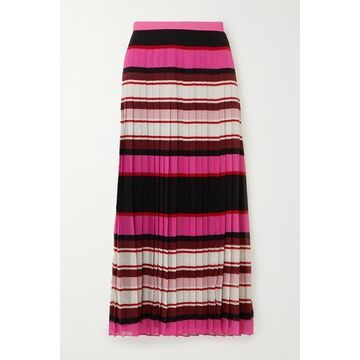 Valentino - Pleated Striped Silk-georgette Midi Skirt - Pink