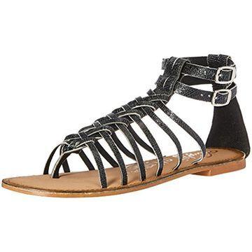 Naughty Monkey Boardwalk Women's Leather Gladiator Buckle Distressed Sandal Shoe