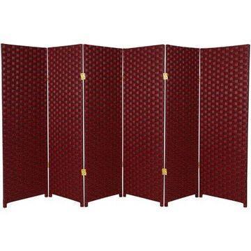 Oriental Furniture 4 ft. Tall Woven Fiber Room Divider, red Black, 6 panel