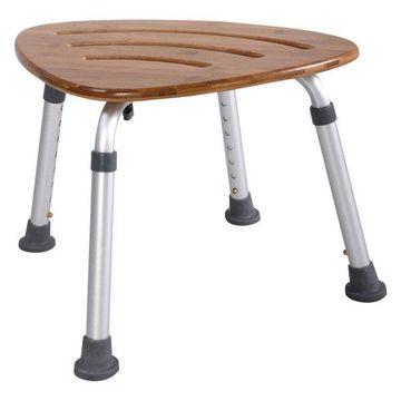 Costway Bamboo Bath Seat Shower Chair Triangular Slip-Resistant Rubber Tip