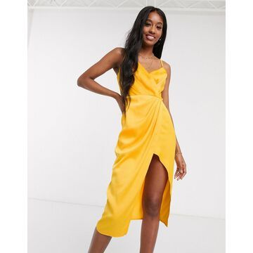Little Mistress satin wrap dress in marigold-Yellow