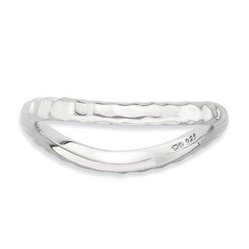 925 Rhodium Flashed Silver Glossy Patterned Wavy Ring