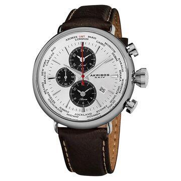 Akribos XXIV Men's World-Time Alarm Leather White Strap Watch (White)