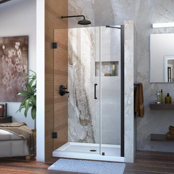 DreamLine Unidoor 72-in H x 39-in to 40-in W Frameless Hinged Satin Black Shower Door (Clear Glass) | SHDR-20397210-09
