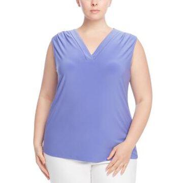 Anne Klein Plus Size Pleated V-Neck Sleeveless Top