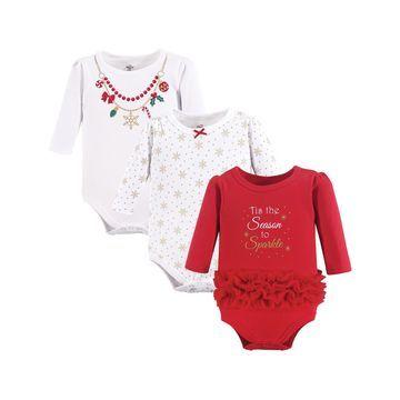 Luvable Friends Girls' Infant Bodysuits Christmas - White & Red 'Tis the Season' Bodysuit Set - Newborn & Infant