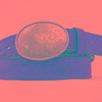 N1011644-46 Floral Embossed Belt with Oval Buckle, Medium Brown Distressed - Size 46