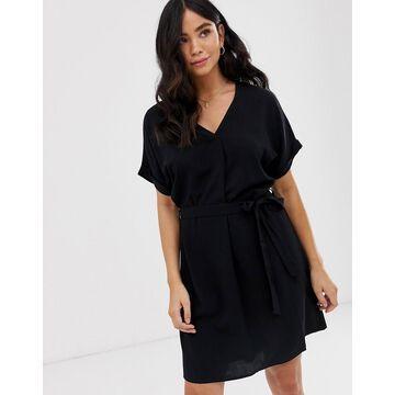 New Look tie waist tunic dress in black