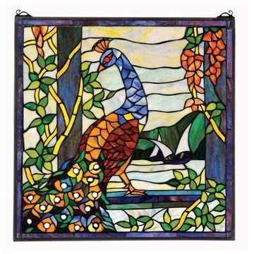 Design Toscano Peacock's Tiffany-Style StainedGlass Window