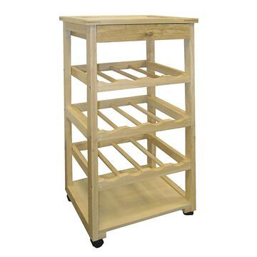 ORE International Brown Wood Base with Wood Top Kitchen Cart (11.5-in x 15.5-in x 32-in)   F-2002