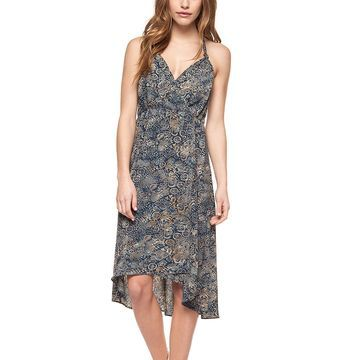 Dex Women's Casual Dresses 91374-OMBRE - Blue & Gold Abstract Sleeveless Wrap Dress - Women