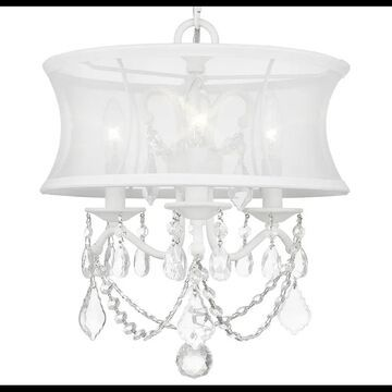 Livex Lighting 6303 Newcastle 3 Light Semi-Flush Ceiling Fixture White Indoor Lighting Ceiling Fixtures Semi-Flush