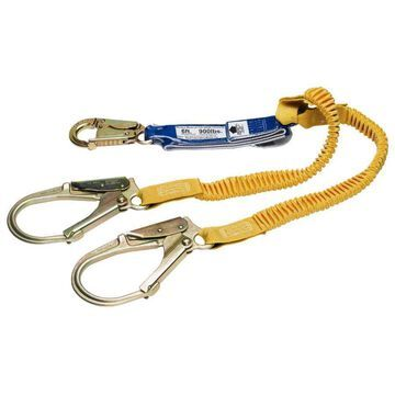 Werner 6ft DeCoil Stretch Twinleg Lanyard (DCELL Shock Pack, Elastic Web, Snap Hook, Rebar Hook) in Gold