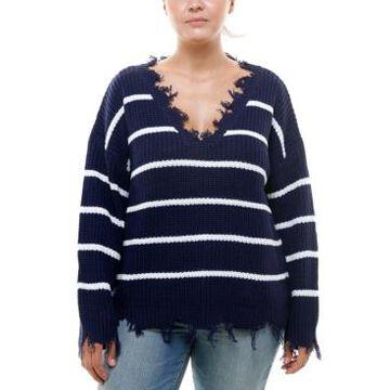 Derek Heart Trendy Plus Size Destructed Striped Sweater
