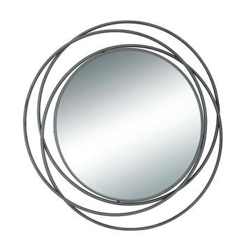 Benzara Black Metal Round Wall Mirror (Black)