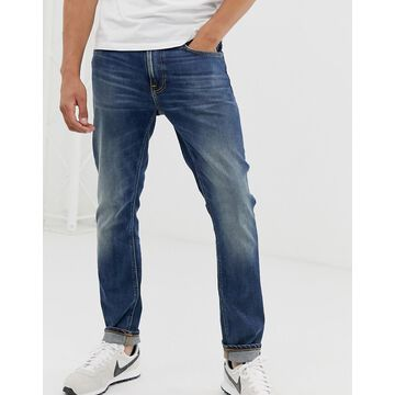 Nudie Jeans Co Lean Dean slim tapered fit jeans in indigo shades wash-Blue