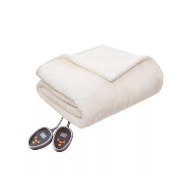 Woolrich Heated Plush & Berber Blanket, White, Twin