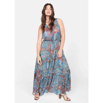 Violeta BY MANGO - Boho printed dress blue - 10 - Plus sizes