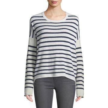 Block-Striped Cashmere Crewneck Sweater