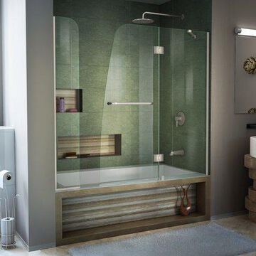 DreamLine Aqua 56-60 in. W x 58 in. H Frameless Hinged Tub Door with Extender Panel in Brushed Nickel