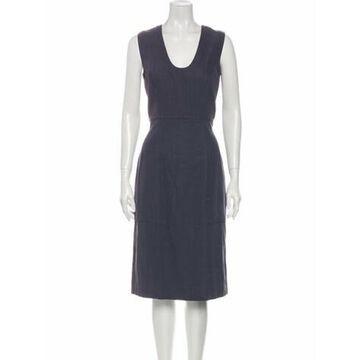 Scoop Neck Midi Length Dress Grey