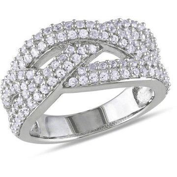 Miabella 1-1/4 CT T.G.W. Created White Sapphire Sterling Silver Cross-Over Ring