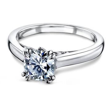 Annello by Kobelli 14k Gold 1 1/10 Carat Forever One Cushion Moissanite Solitaire Split-Prong W Head Engagement Ring (DEF/VS)