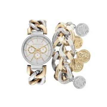 Kendall + Kylie Women's Two-Tone Stainless Steel Metal Strap Chunky Chain Mock-Chronograph Analog Watch and Coin Bracelet Set 40 mm