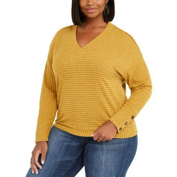 Plus Size Button-Sleeve Ribbed Top