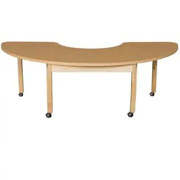 Wood Designs Mobile 22 x 64 Half Circle High Pressure Laminate Table with Hardwood Legs- 22 (HPL2264 | Quill