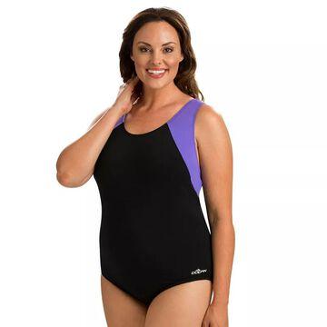 Plus Size Dolfin Moderate Colorblock One-Piece Swimsuit, Women's, Size: 18, Purple