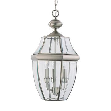 Sea Gull Lighting Lancaster Antique Brushed Nickel Transitional Beveled Glass Lantern Medium (10-22-in) Pendant Light | 6039-965