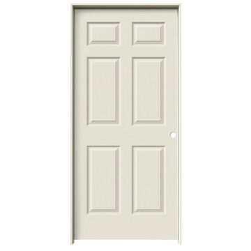 ReliaBilt Colonist 36-in x 80-in Primed 6-Panel Hollow Core Primed Molded Composite Left Hand Single Prehung Interior Door in Off-White