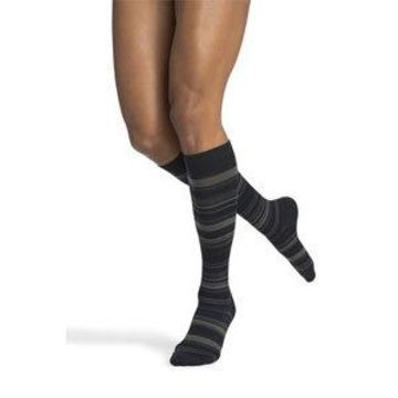 Sigvaris Sigvaris-832CLLW03 Microfiber Shades Calf High Socks, Mini Stripe Navy - Large Long