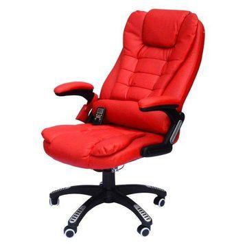 HomCom Executive Ergonomic Heated Vibrating Massaging Office Chair, Red
