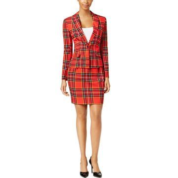 Opposuits Womens Lumber Jackie Plaid One-Button Skirt Suit